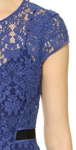 Rebecca Taylor Short sleeved Lace Dress Blue ShopBop $450 sleeve