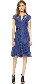 Rebecca Taylor Short sleeved Lace Dress Blue ShopBop $450