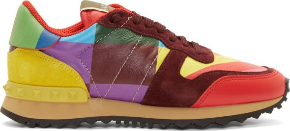 Valentino Red Leather & Suede 1973 Printed Sneakers SSENSE