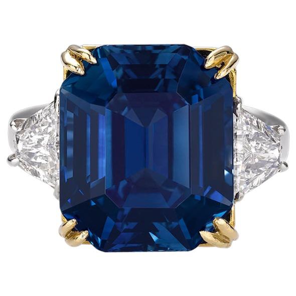 18.50 Carat Untreated Kashmir Sapphire Diamond Ring