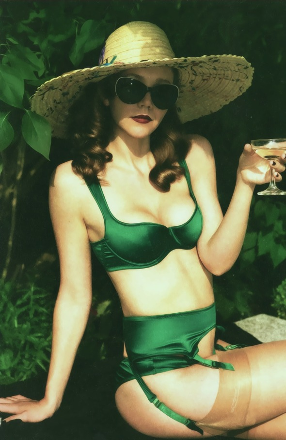 Maggie Gyllenhaal AP Green Stretch Satin Lingerie