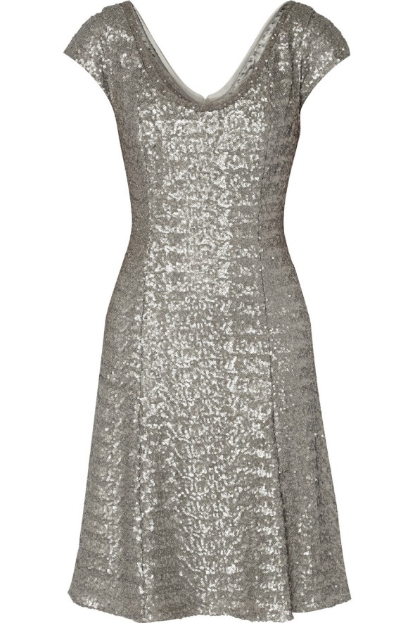 Mikael Aghal Silver Sequin Tulle Dress Front