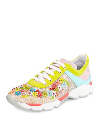 Rene Caovilla Floral Embellished Sneakers $1440