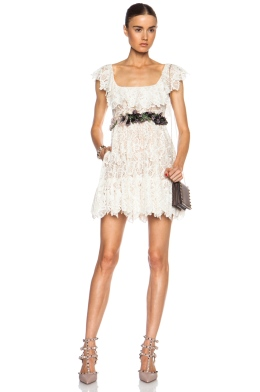Valentino Butterfly Lace Dress Embroidered Belt Front