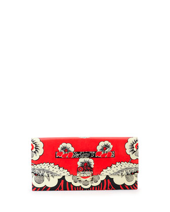 Valentino Floral Print Covered Clutch