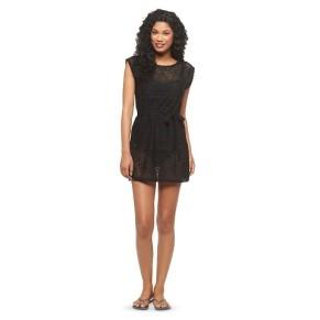 Xhiliration Target Crochet Cover-up Black