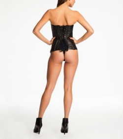Fluer du Mal  and Cadolle Leather Corset Bodysuit Back