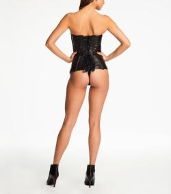 Fluer du Mal  and Cadolle Leather Corset Bodysuit Back