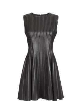 Scoop NYC Leather Strip Dress