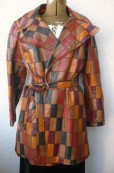 Vintage 70s PATCHWORK LEATHER JACKET Spy Trench Coat etsy