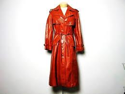 Vintage 70s red orange rust leather trench coat