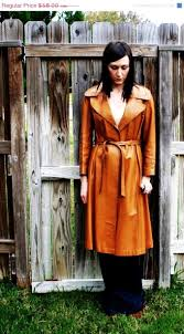 Vintage Caramel Camel Brown Genuine Leather Long Trench