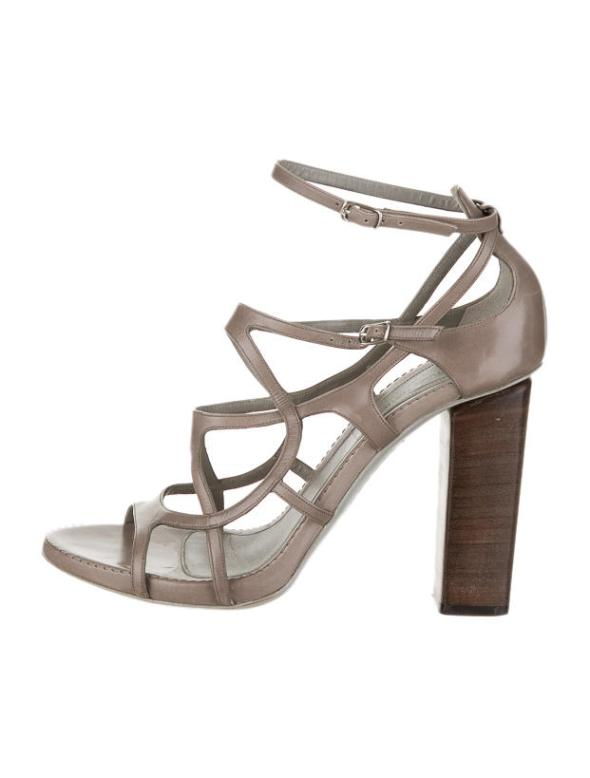 Costume National Grey Taupe Cage Sandals