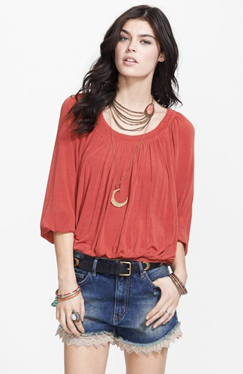 Free People Moss Jersey Blouse Rust