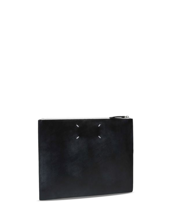 Martin Margiela Leather clutch in trompe l'œil print 2