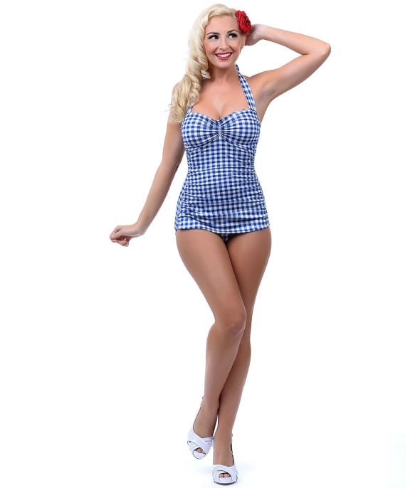 Retro_1950s_Style_Royal_Blue_White_Gingham_One_Piece_Swimsuit