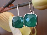 Silver and Green Onyx Earrings