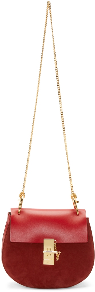 Chloe Paprika Red Small Drew Chain Shoulder Bag