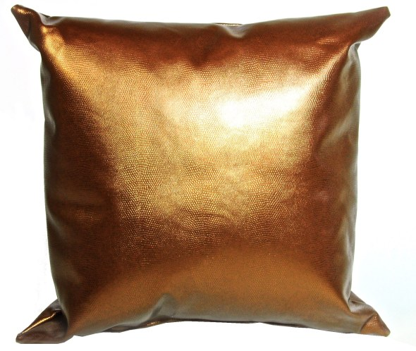 METALLIC COPPER CROCODILE LEATHER PILLOW - $15