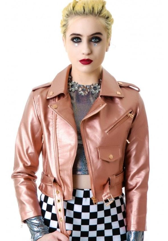 Copper Lip Service Vinyl biker jacket