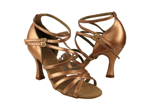 Copper Nude Leather ballroom shoes