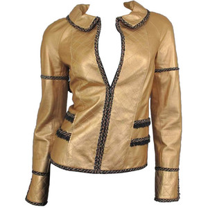 Copper Quilted Leather Chanel Jacket