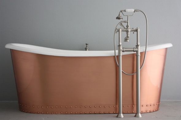 Copper The Glastonbury 73 Cast Iron French Bateau Tub Package
