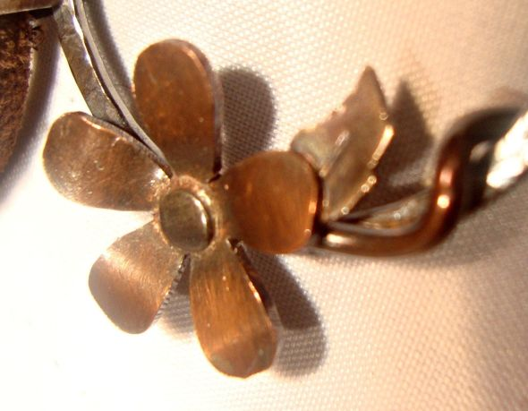 Copper vine handmade silver leather necklace