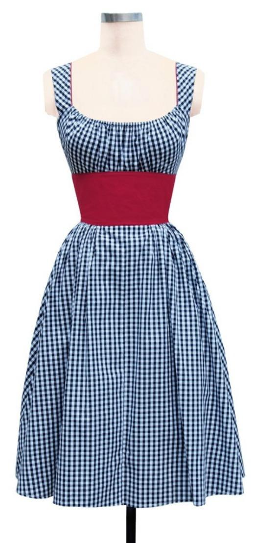 Blue Gingham Peasant Dress