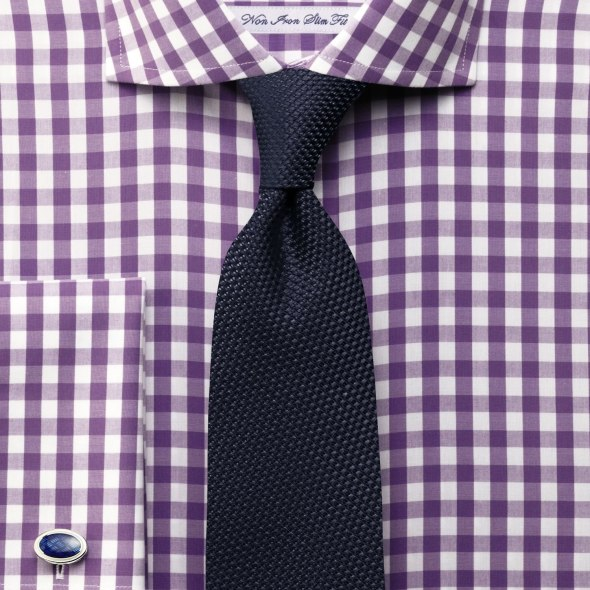 Charles Tyrwhitt Purple Spread Collar Gingham shirt