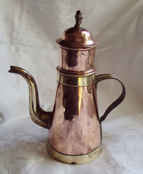 Copper and Brass Coffee Pot and Percolator Belgian Brussels H. Pommier