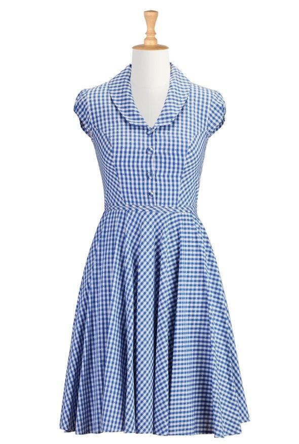 Shawl Collar 1950's Dress Gingham