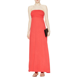 Avaleigh Strapless Smocked Maxi Dress Coral