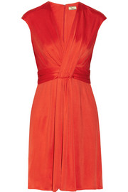 Issa Silk-Jersey Dress Bright Red Orange