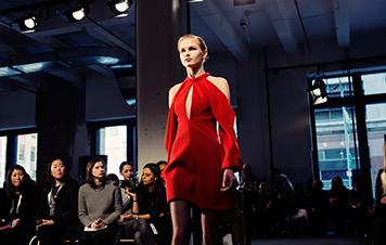 J.Mendel Silk Crepe Open Shoulder Dress Runway