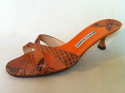 Manolo blahnik orange snakeskin sandals