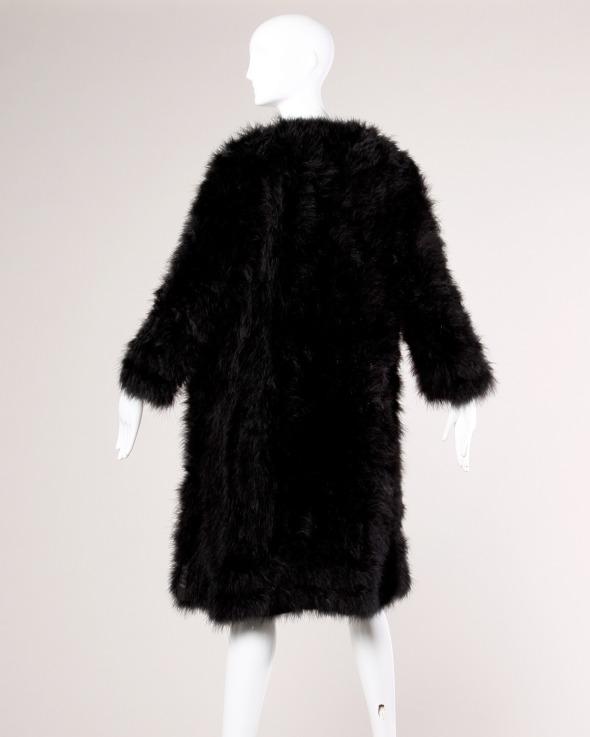 Marabou Feather Coat Vintage Black 3
