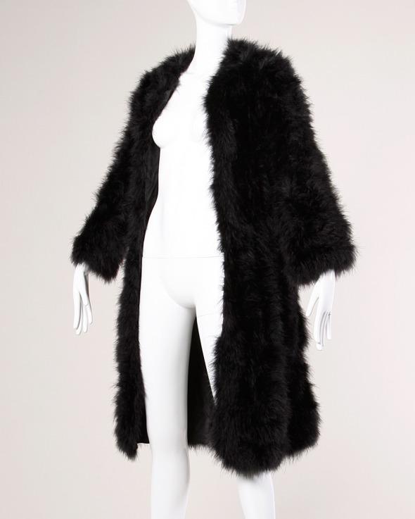 Marabou Feather Coat Vintage Black