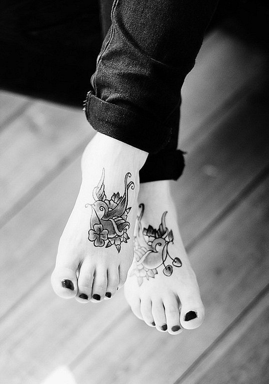 Tattoo the-cute-bird-Tattoo-Design-and-meaning-on-foot