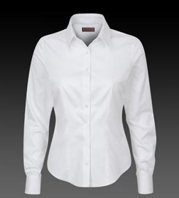 Thomas Pink White Abson Herringbone Tailored Women's Shirt - Double Cuff