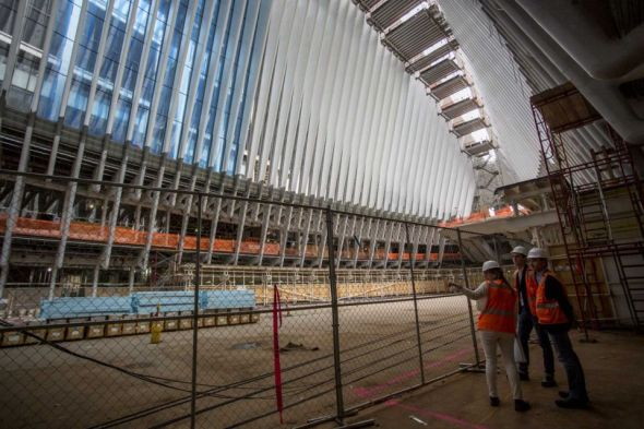 World-Trade-Center-PATH-Interior view of the Oculus, framed by white ribs next to the World Trade Center and 911 memorial site on May 6, 2015. By Yeong-Ung Yang (Credit Yeong-Ung Yang - Yeong-Ung Yang)