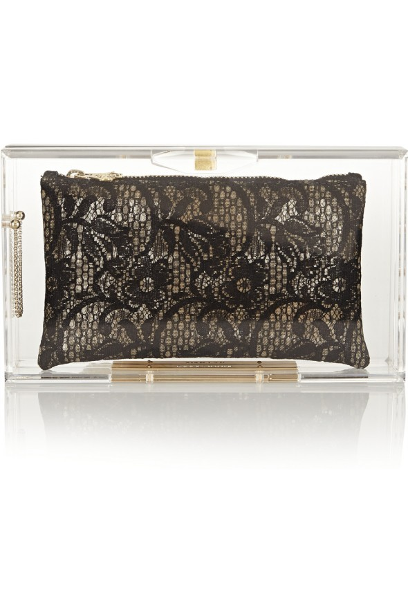 Charlotte Olympia Laced Up Pandora Perspex clutch Nude back