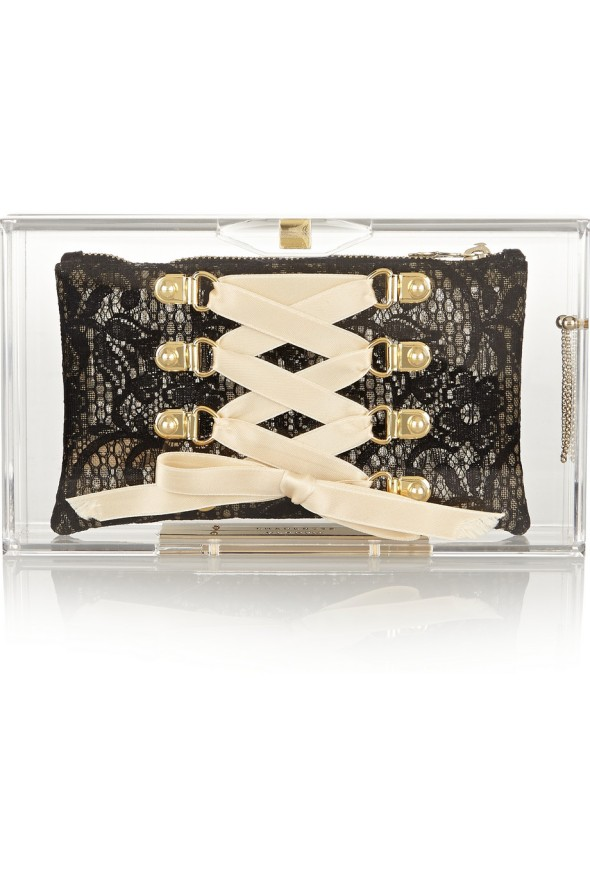 Charlotte Olympia Laced Up Pandora Perspex clutch Nude