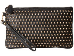 Mighty Purse Black Leather Gold studs