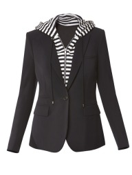 veronica-beard NAVY CLASSIC WITH BLACK AND WHITE STRIPE HOODIE DICKEY $745