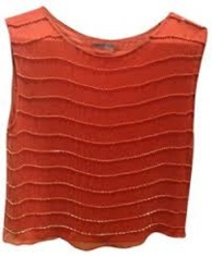 Alice & Olivia Beaded Orange Top