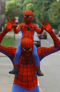 Christopher Lee and Christopher Lee Junior for Kent UK in their Spider-Man just suits