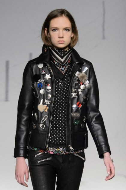 Coach EMBELLISHED leather jacket with pins
