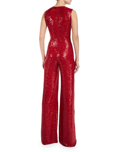 Naeem Khan Sleeveless V-neck Sequin Jumpsuit Red back