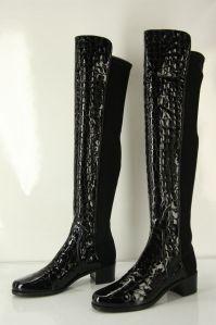 Stuart Weitzman 50/50 Boot Black Patent Croc